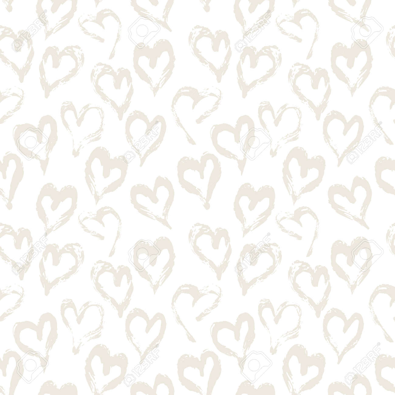 Seamless heart pattern. Hand painted ink brush - 163908772