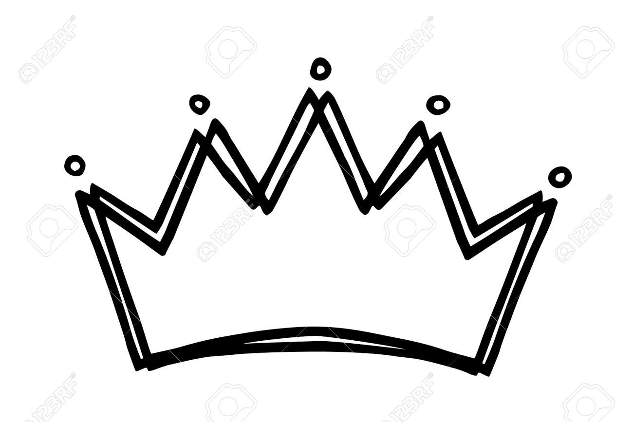 Hand drawn stylized crown design hand painted with ink pen, isolated on white background. Vector illustration - 165183283