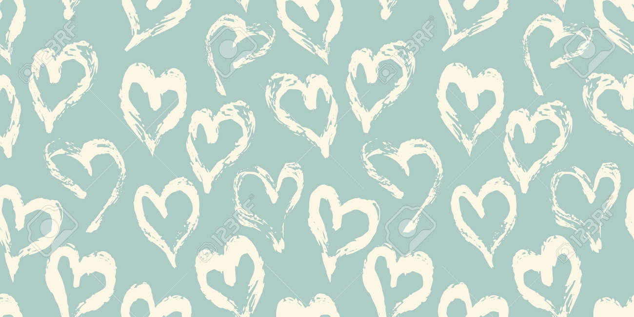 Seamless heart pattern hand painted with ink brush. Vintage style tileable vector illustration - 165183288
