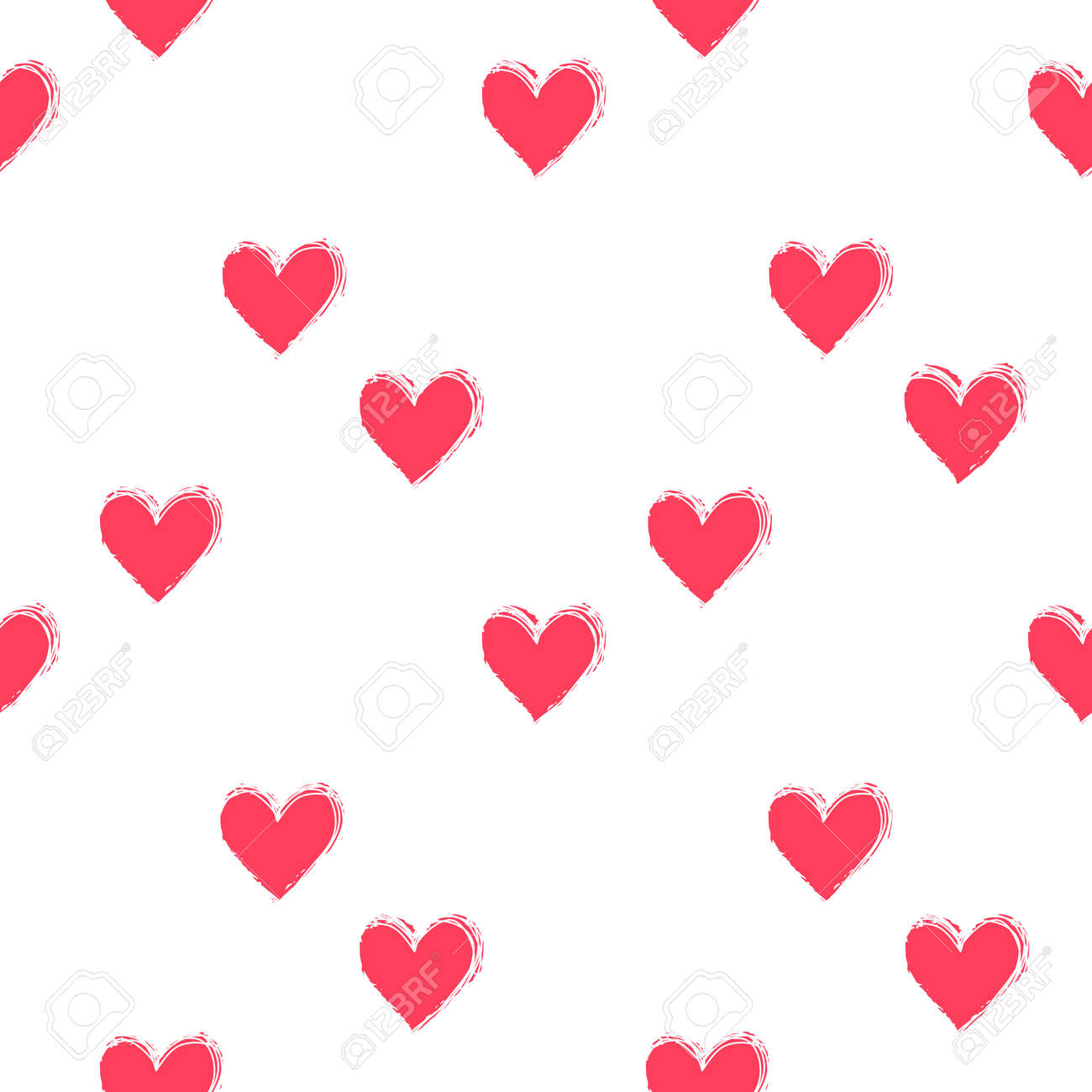 Seamless heart pattern hand painted with ink brush - 167158738