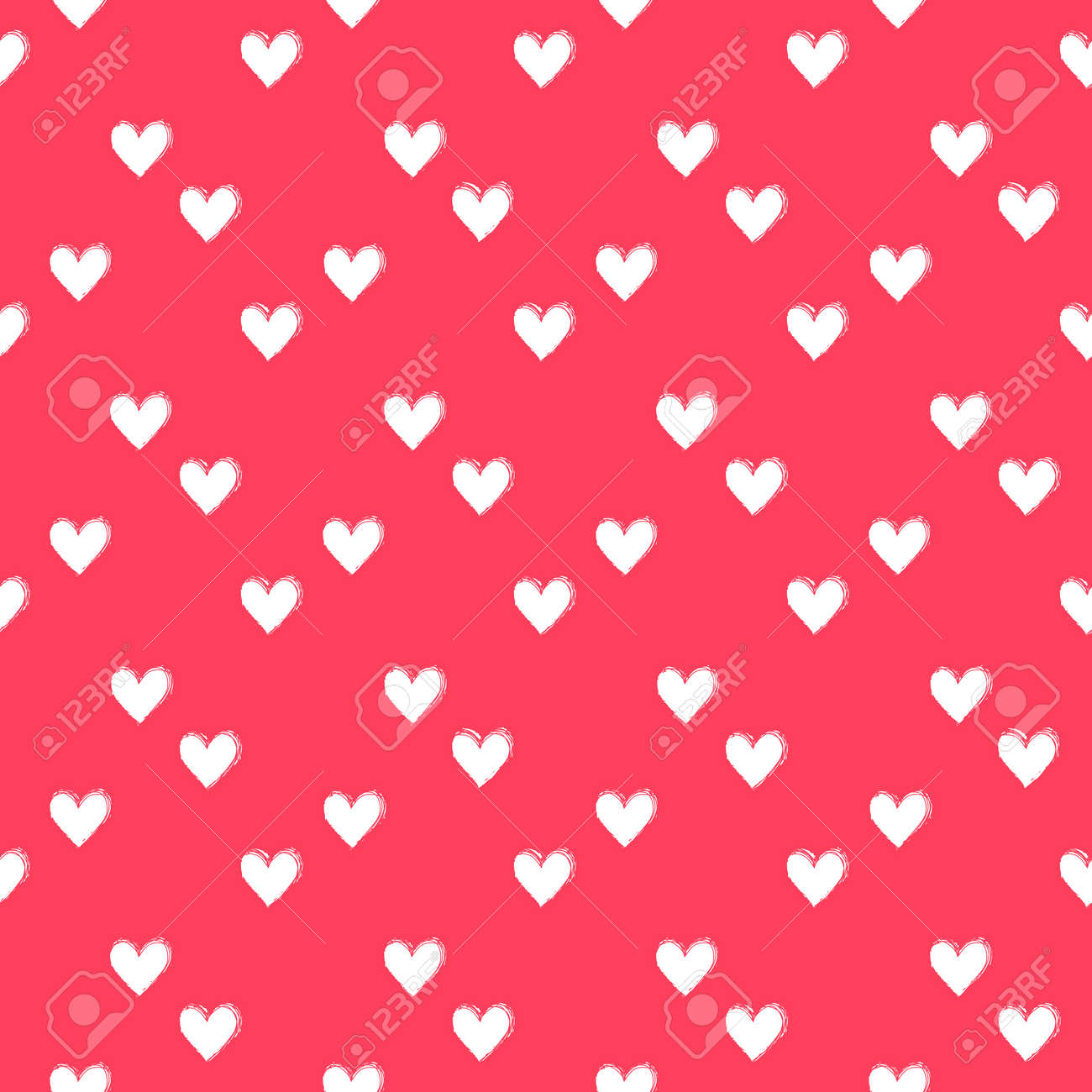 Seamless heart pattern hand painted with ink brush - 169056848