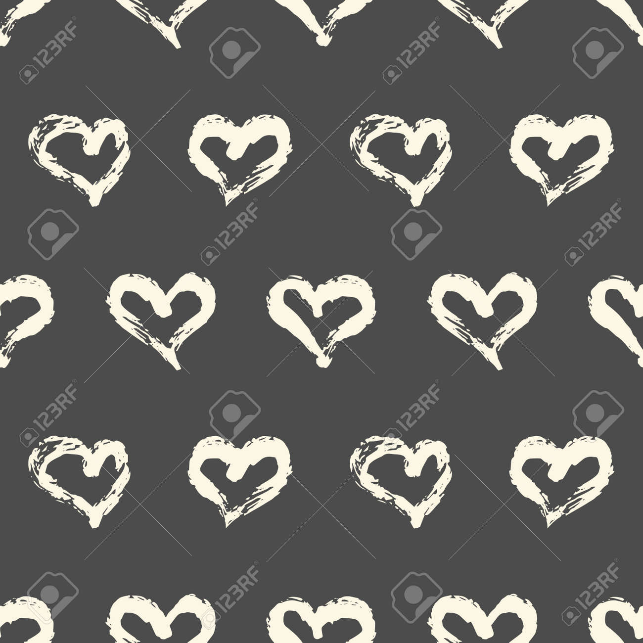 Seamless heart pattern. Hand painted ink brush - 169056849