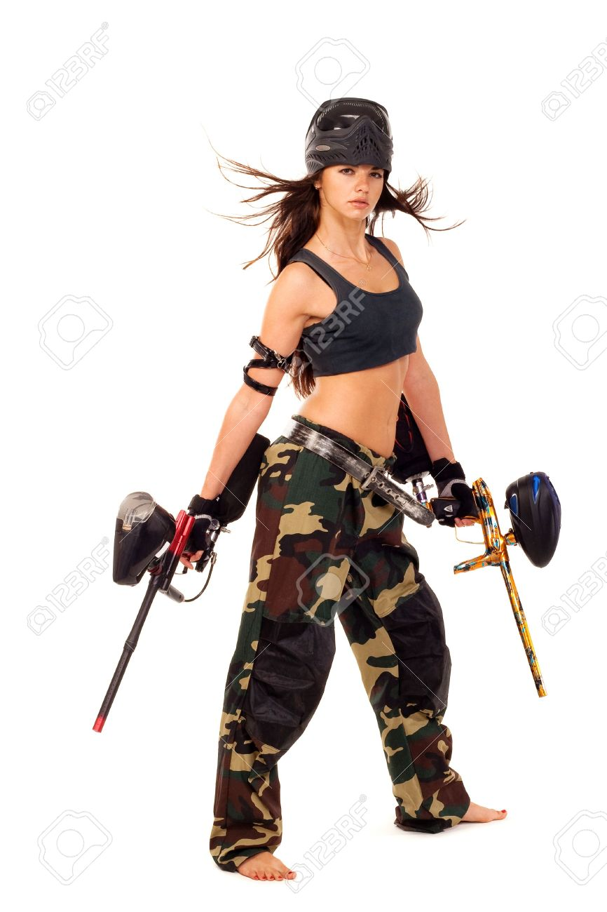 Sexy young girl posing like playing paintball Stock Photo - 6649544