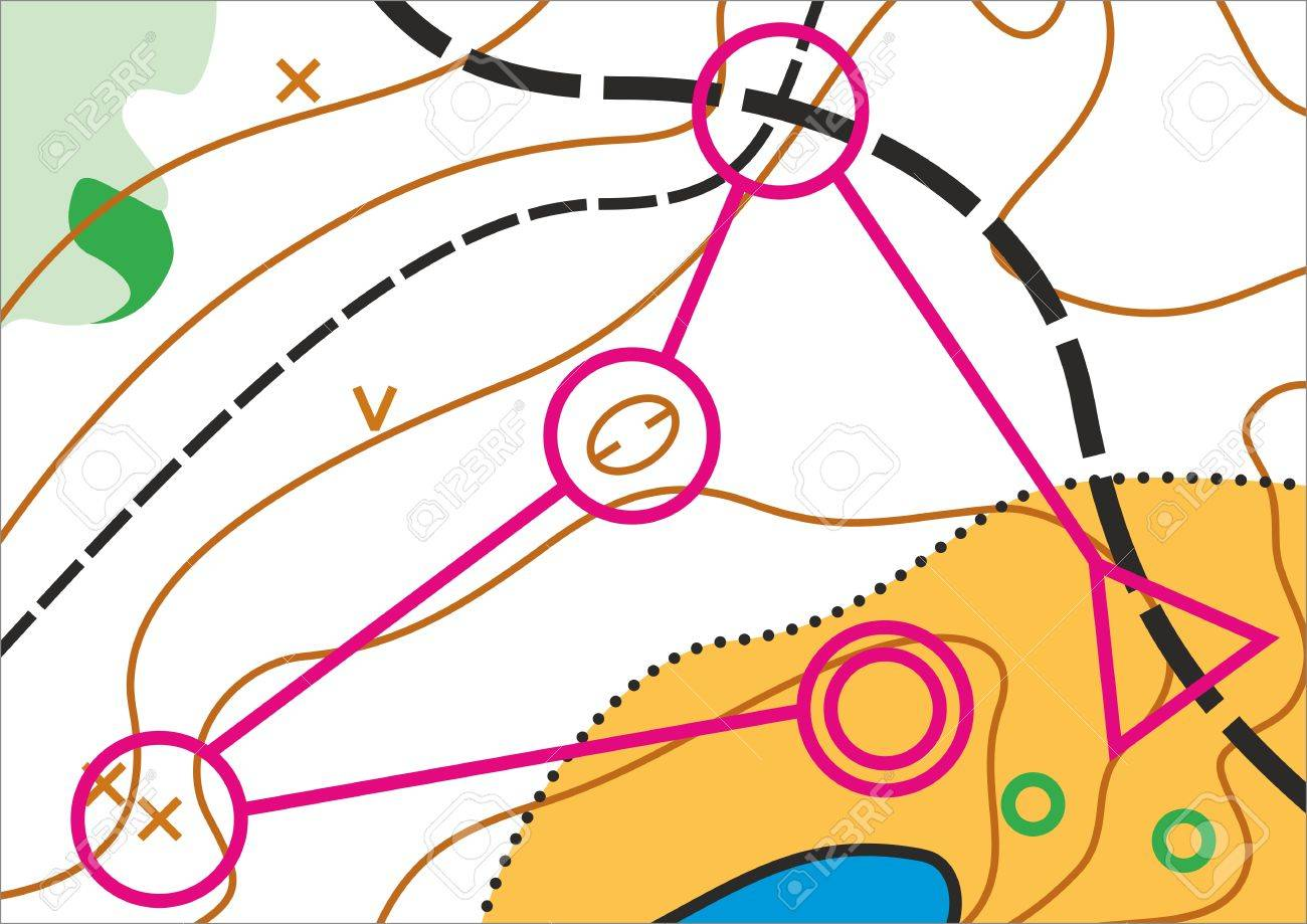 Simple Topographic Map For Orienteering Sport With Distance Marked