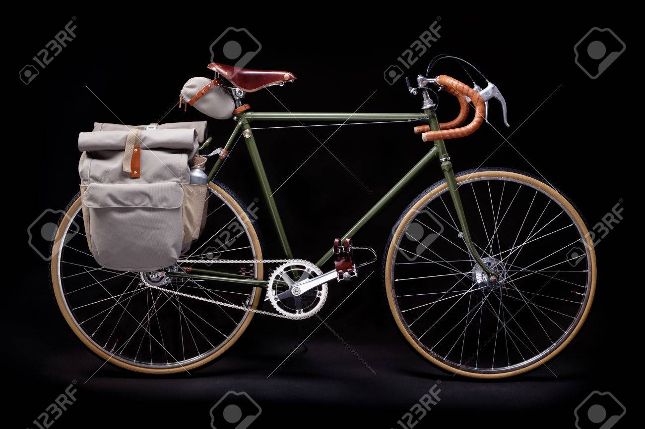 a164e05490f Vintage Green Road Bicycle Isolated On Black. Stock Photo, Picture ...