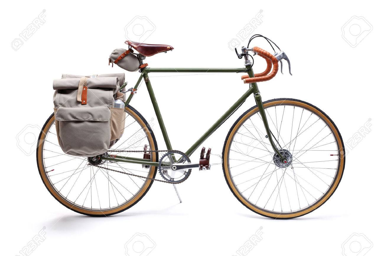 43a7c2265f0 Vintage Green Road Bicycle Isolated On White. Stock Photo, Picture ...