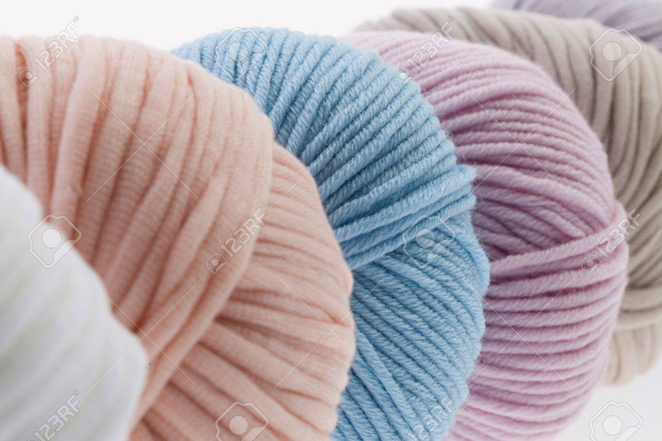 Set of colorful wool yarn wrapped in balls. - 56095918