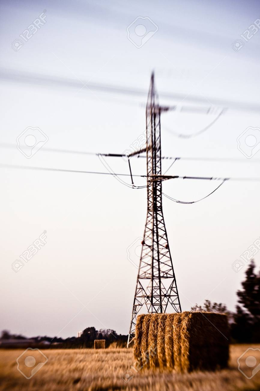 colorful artistic blured picture of the high-voltage transmission tower on rural field taken with lensbaby composer lens Stock Photo - 7820504