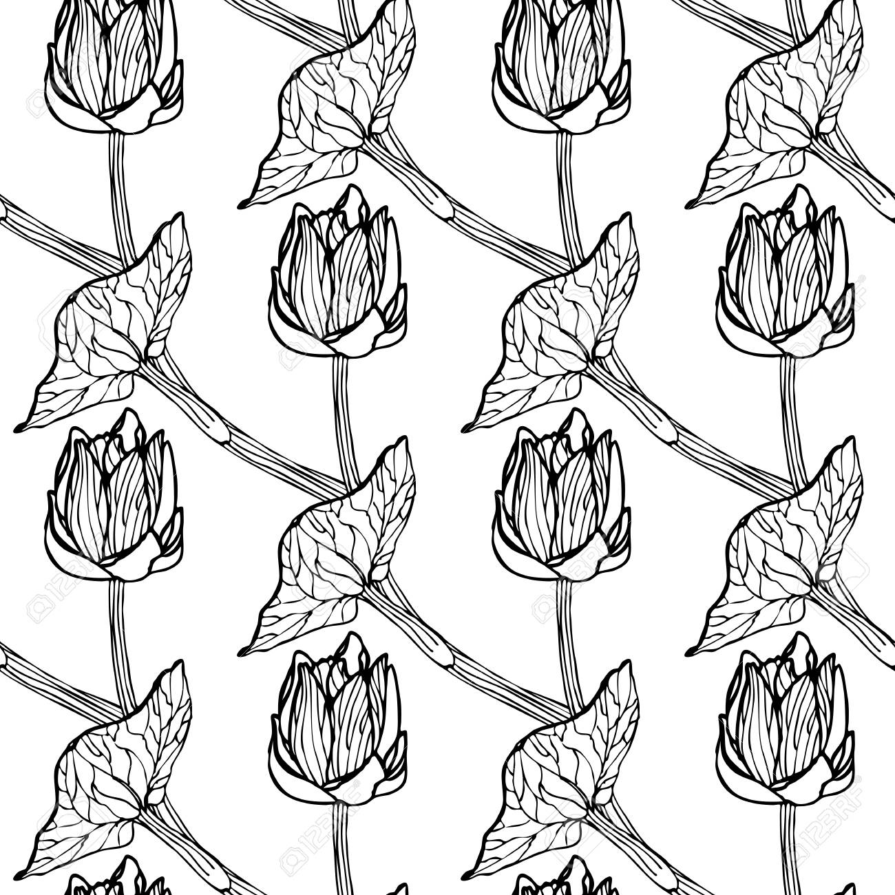 Seamless Floral Pattern Of Spring Flowers Vector Illustration For Continuous Replication Monochrome Stock