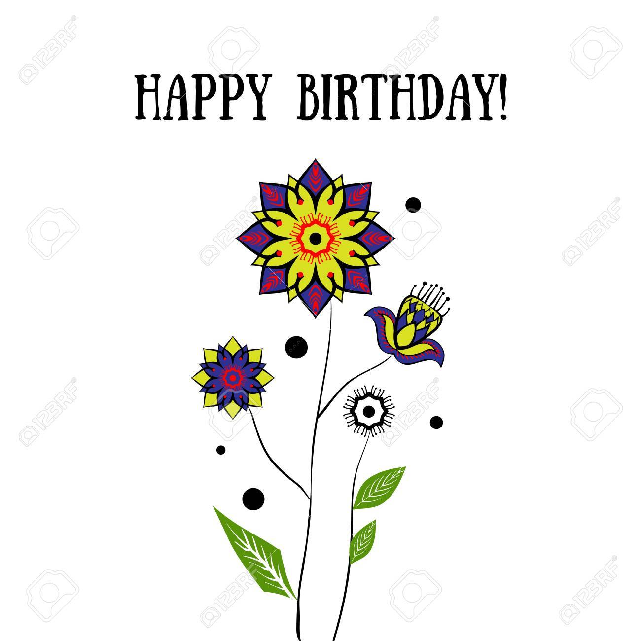 Happy Birthday Card With Flowers On White Background Royalty Free