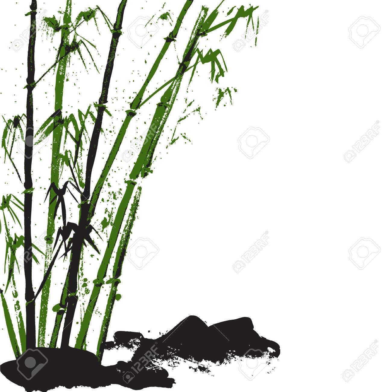 Aquarell Hintergrund Mit Bambus Und Steinen Weisser Hintergrund