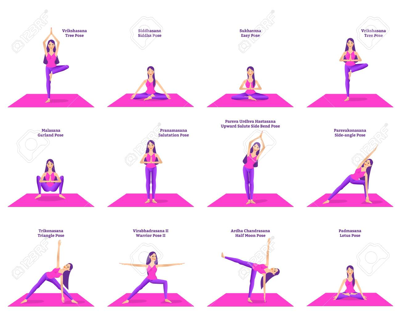 Set Of Woman Doing Different Yoga Poses Standing On Pink Mat Stock Photo Picture And Royalty Free Image Image 120519473