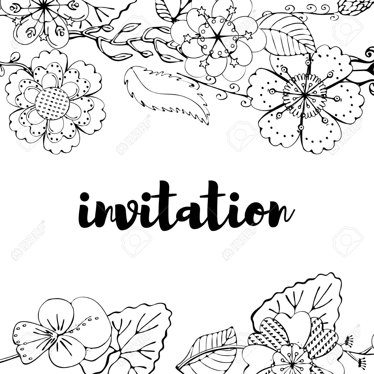 Monochrome Invitation Card With Floral Borders On White Background