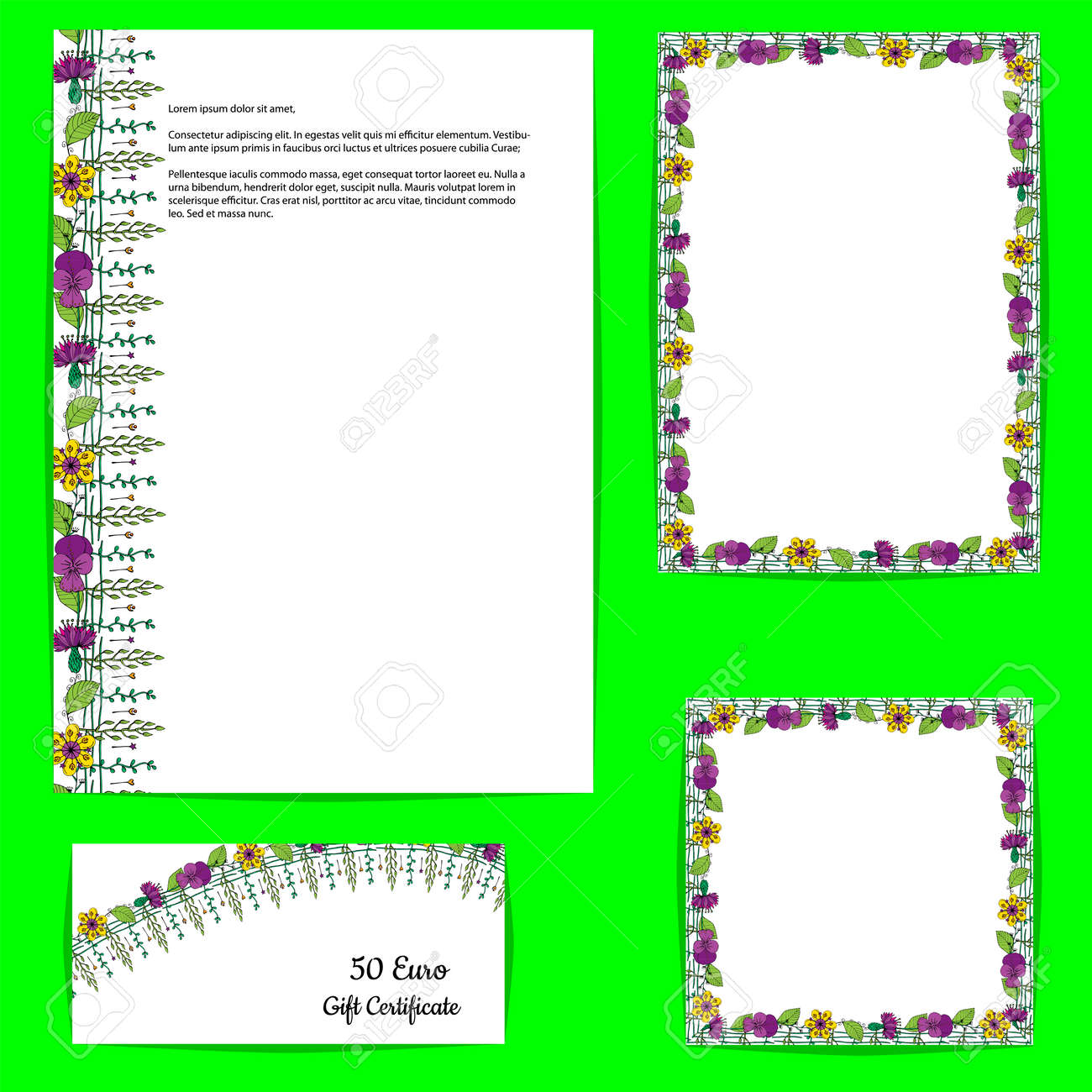 Card template with floral motif on white background. Hand drawn style flowers. - 120519708