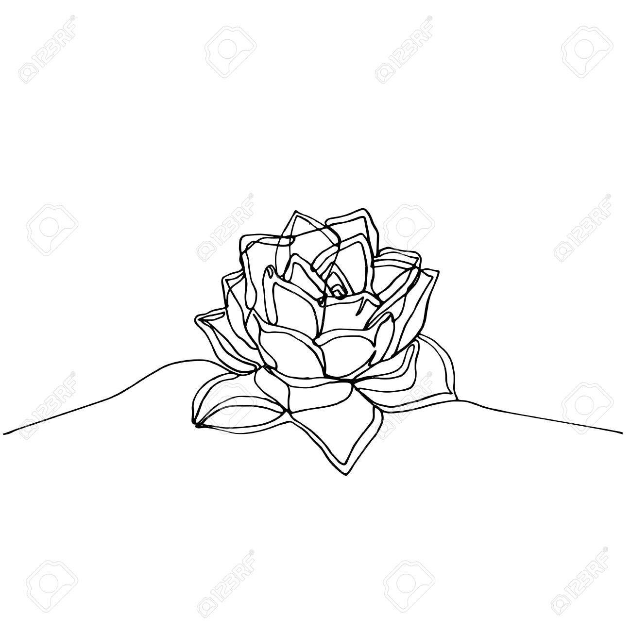 Hand Drawn Minimalistic Succulent One Single Continuous Black Royalty Free Cliparts Vectors And Stock Illustration Image 123423247