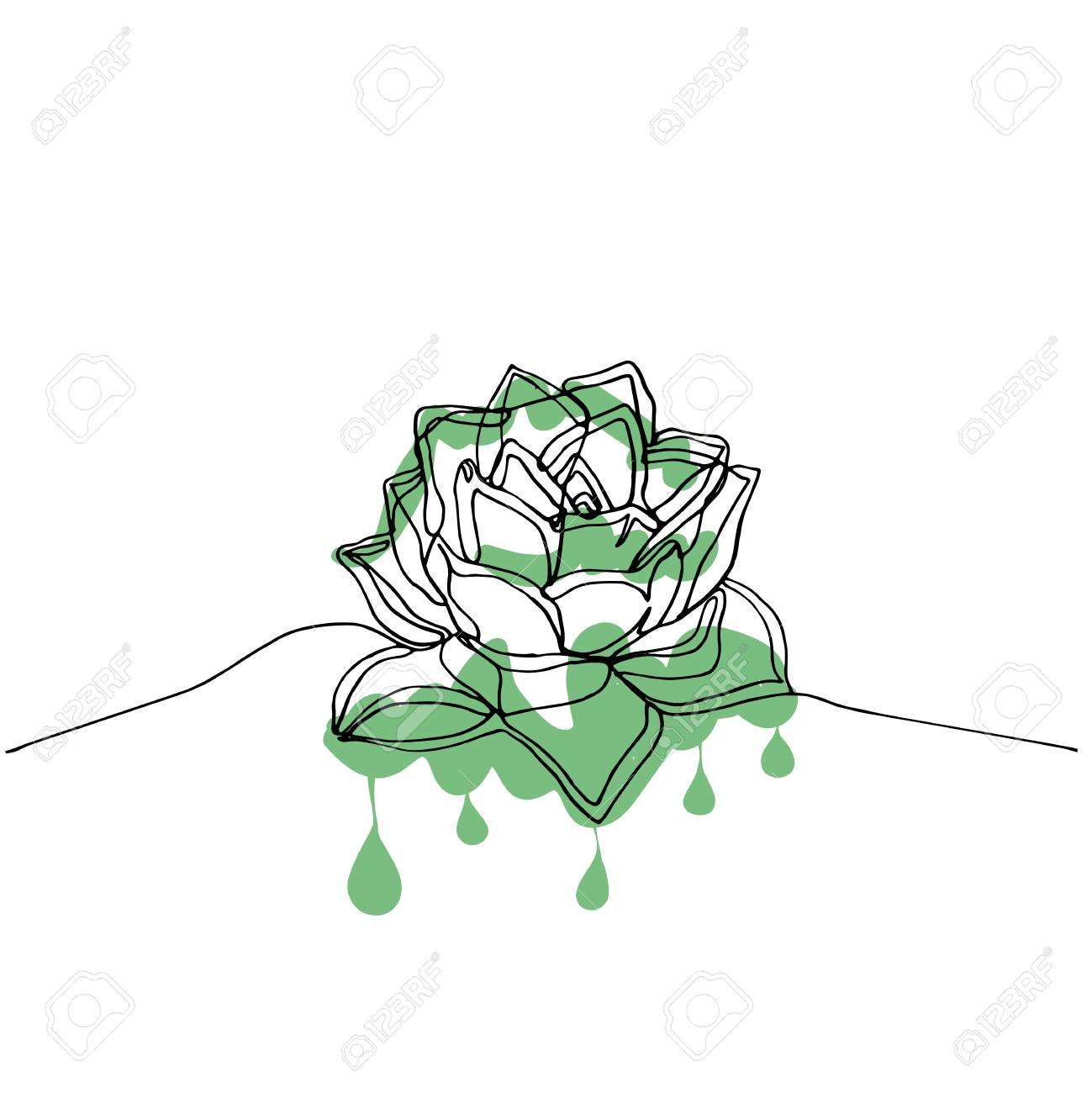 Hand Drawn Minimalistic Succulent One Single Continuous Black Royalty Free Cliparts Vectors And Stock Illustration Image 125913744