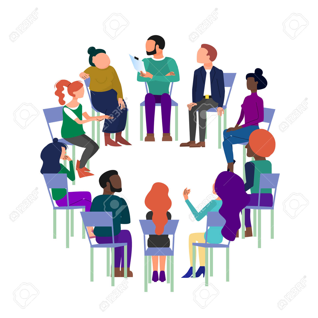 Concept art of group therapy, brainstorming meeting, people sitting in circle, anonymous club. Isolated on white background. - 133514136