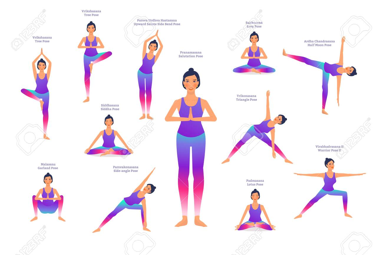 Set Of Woman In Different Yoga Poses Names Of Asanas Text Flat Royalty Free Cliparts Vectors And Stock Illustration Image 141449769