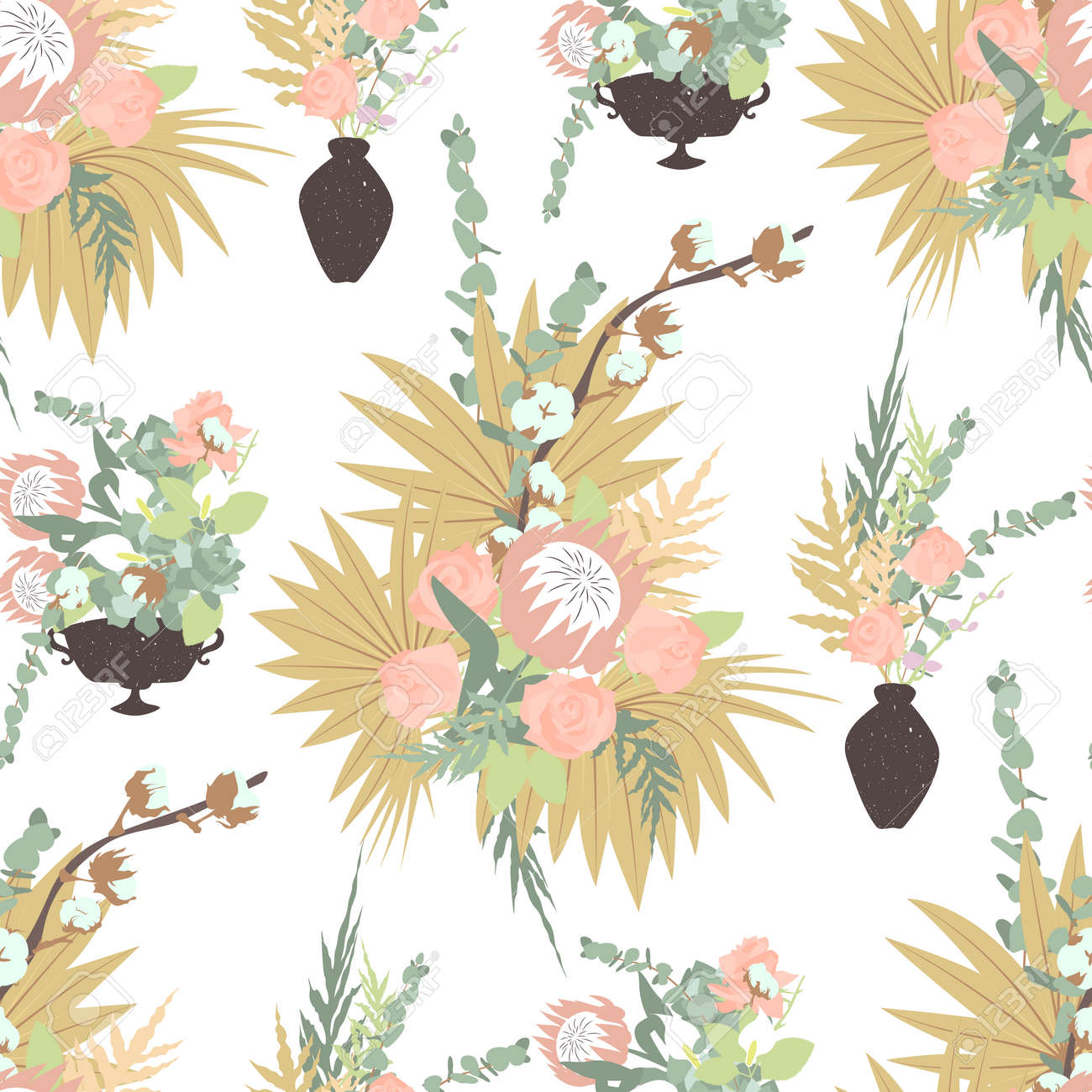 Floral boho seamless pattern with tropical flowers, leaves and bouquets in vases. On white background. Stock vector illustration. - 158661019