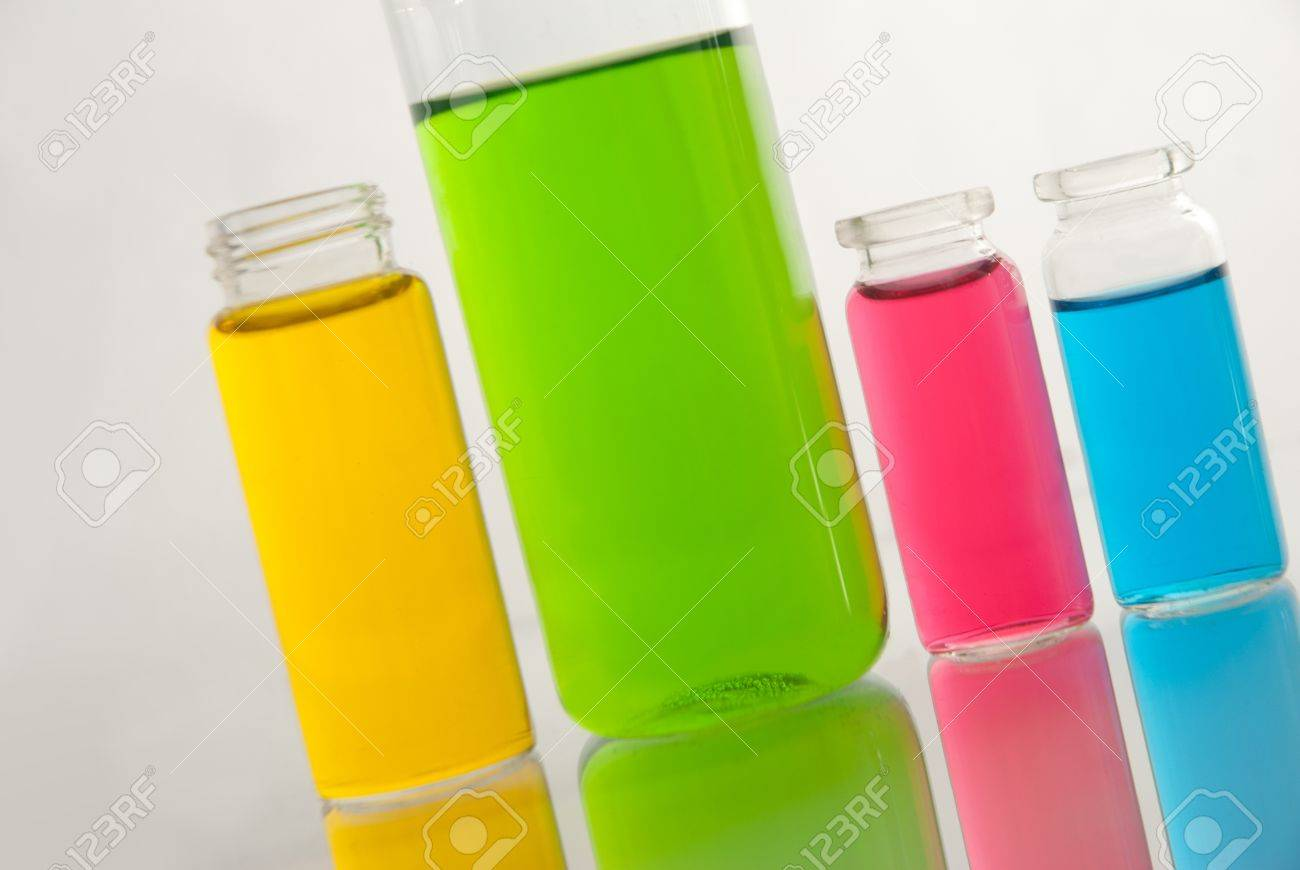 Glass laboratory equipment for science research on white background Stock Photo - 16863565