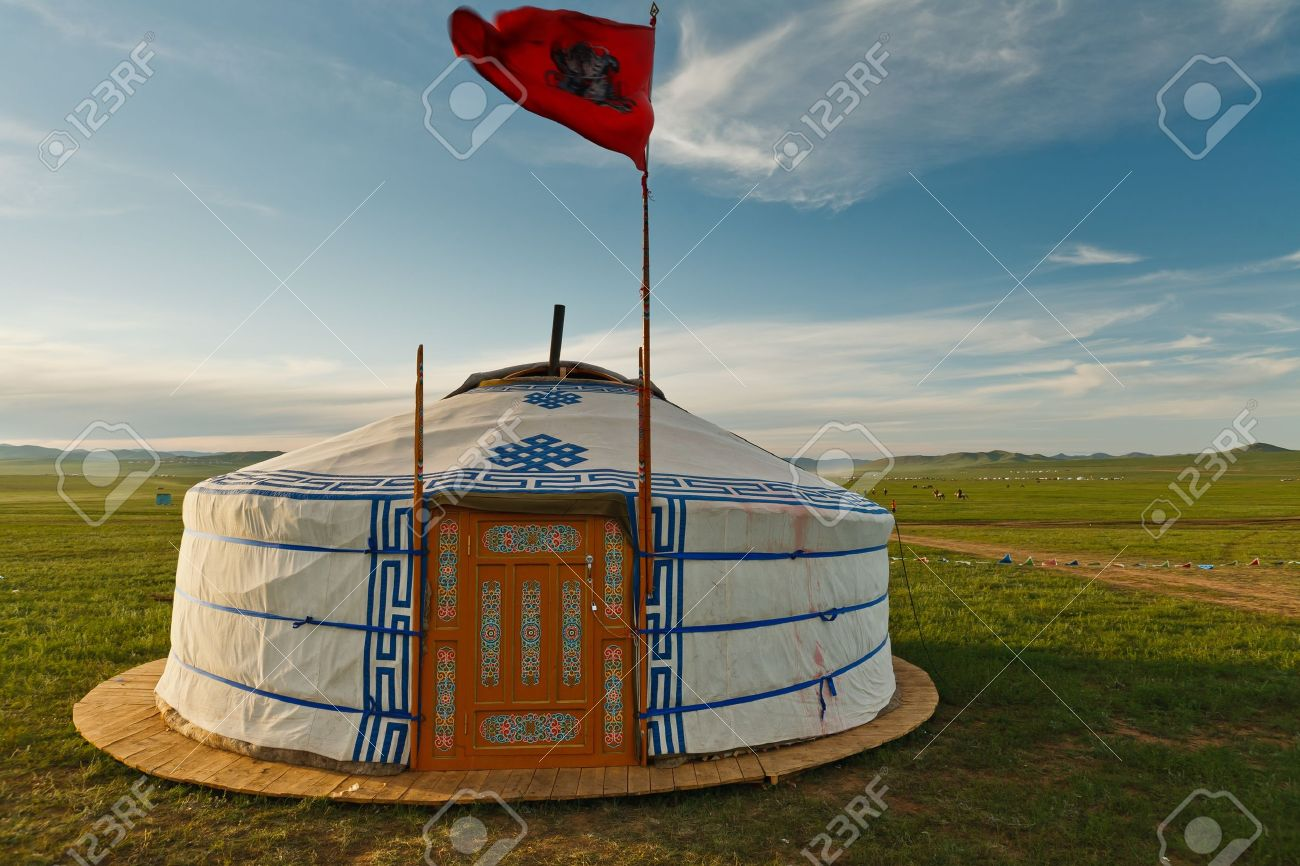 Traditional ger tent home of Mongolian nomads on the grass plains of the steppe Stock Photo & Traditional Ger Tent Home Of Mongolian Nomads On The Grass Plains ...
