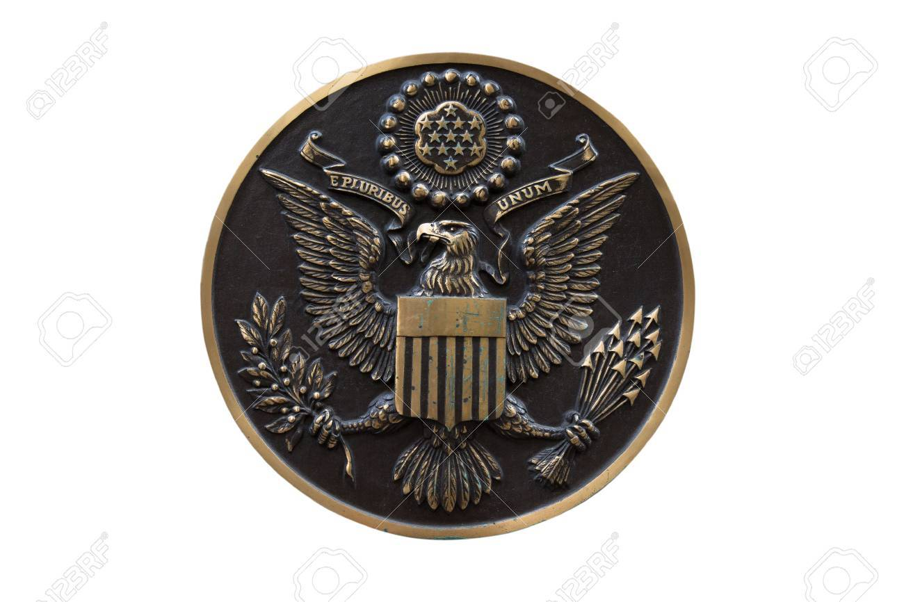 Bronze seal of the United States isolated on white background - 33373745