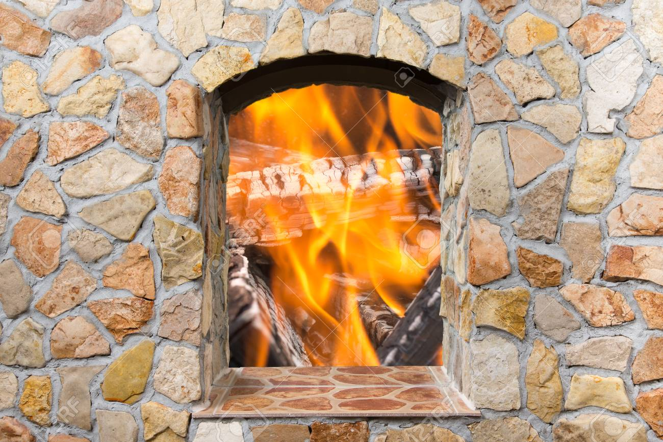 The Reflection Of The Real Fire In A Mirror Decorative Stone