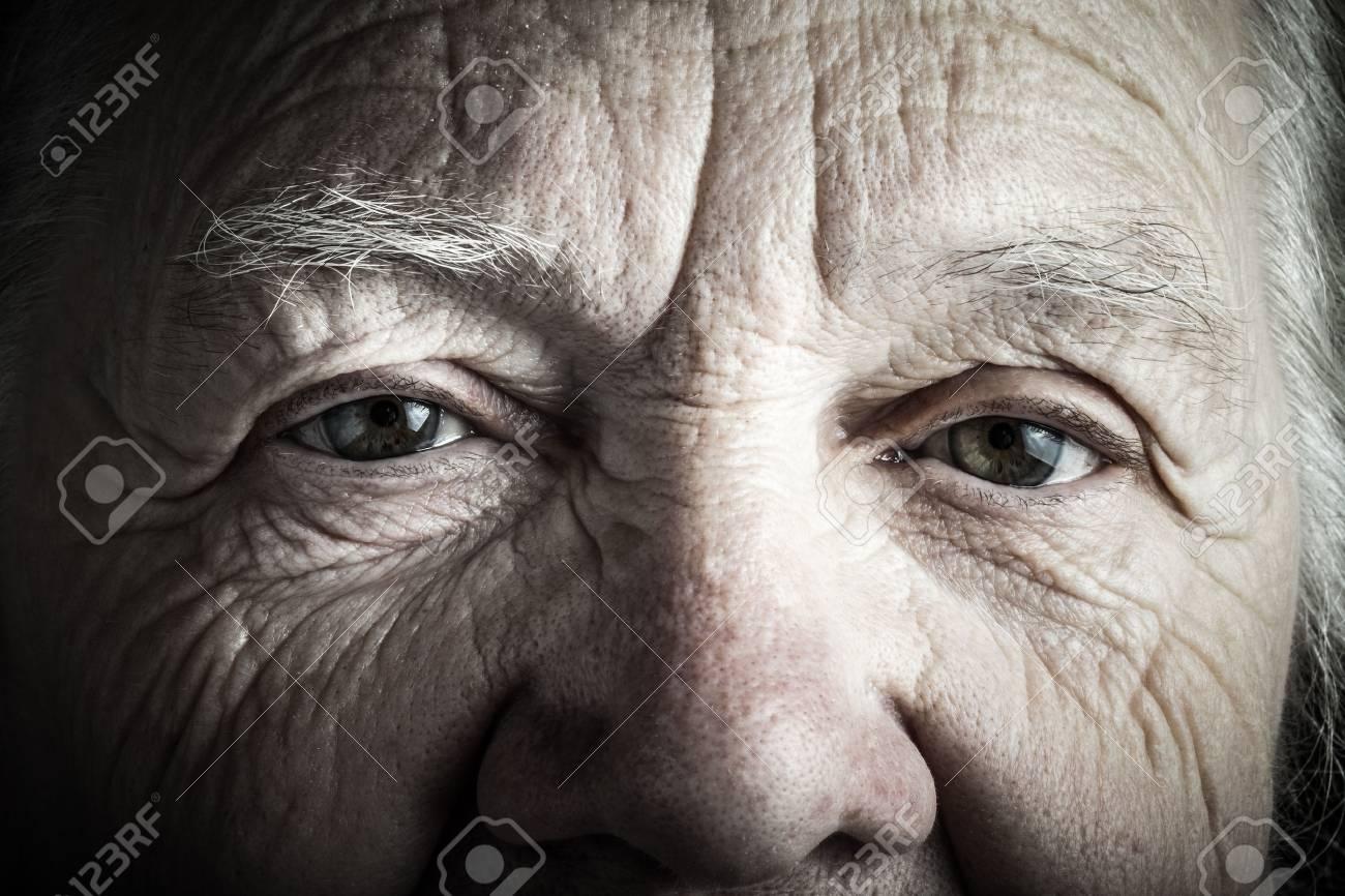 Portrait of elderly woman. Closeup view. Toned. - 54159199