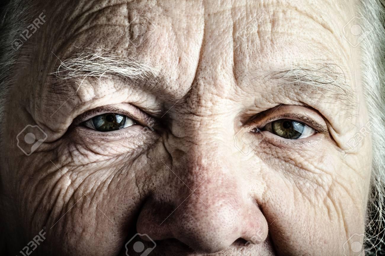 Portrait of elderly woman. Closeup view. Toned. - 54159218