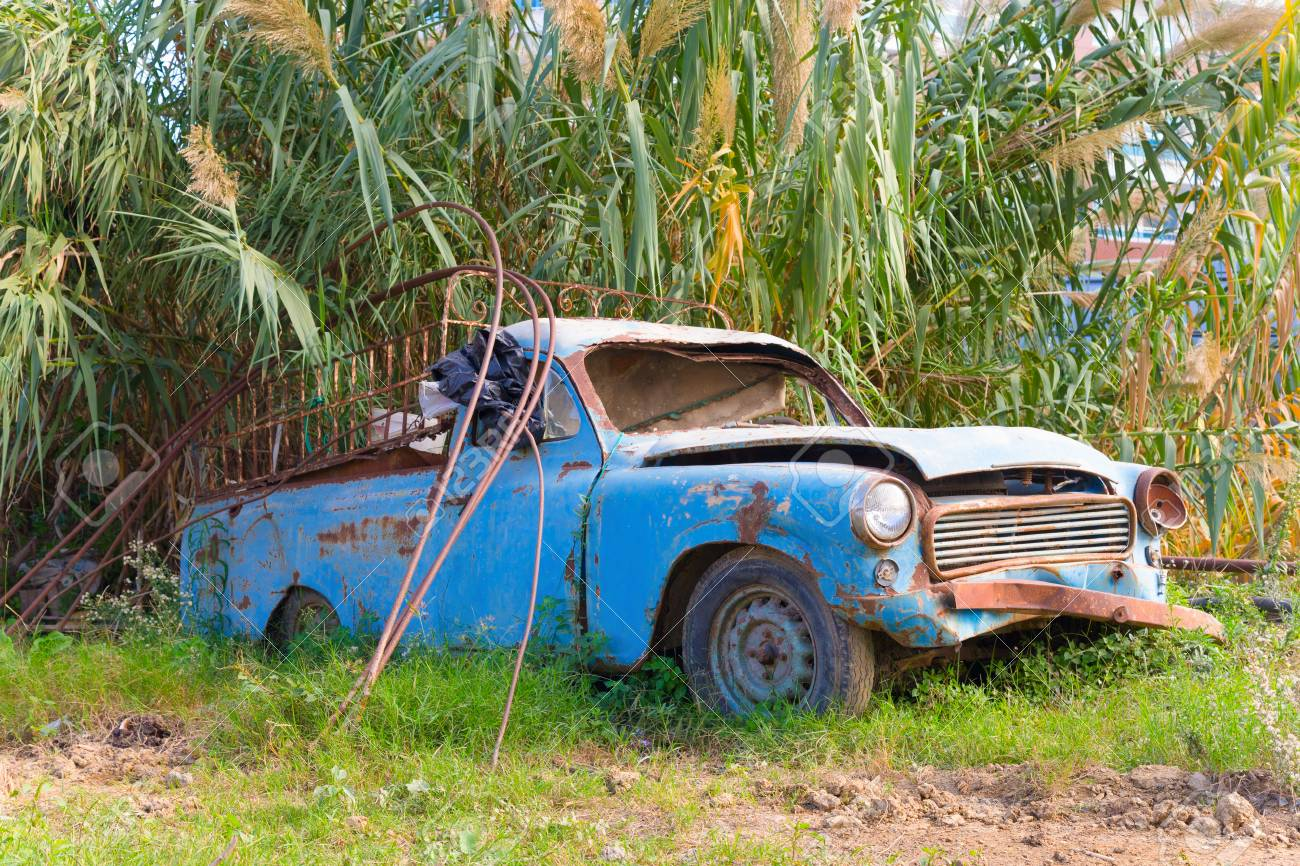 old broken car under the palm tree toned stock photo picture and