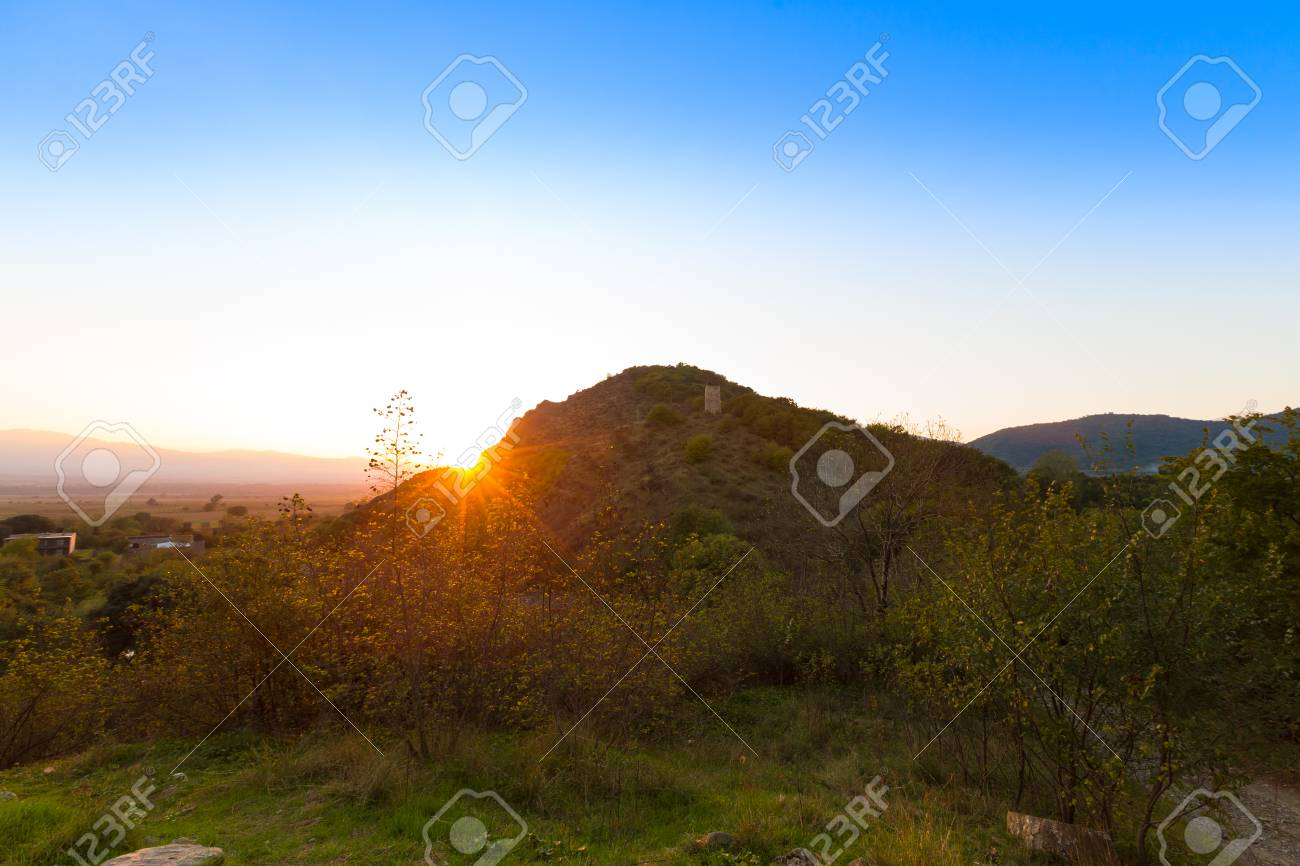 Beautiful Autumn Sunset Mountain Landscape In Kakheti Georgia Stock Photo
