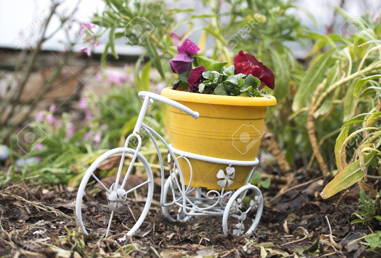 Small White Bicycle With Yellow Plastic Pot And Red Flowers For