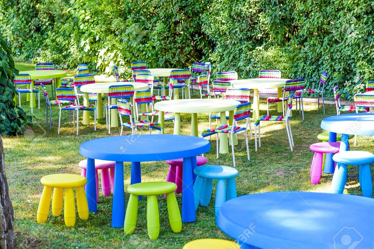 Jardín Decorado Para La Fiesta De Los Niños. Modernos Y Cómodos ...