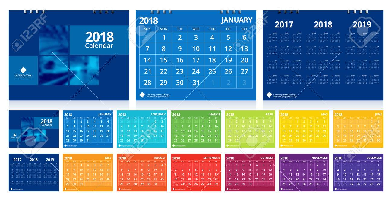 Calendar 2018 Week Start On Sunday. Desk Calendar For Corporate ...