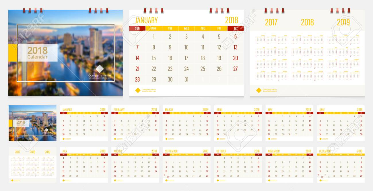 Calendar 2018 Week Start On Sunday Corporate Business Luxury ...