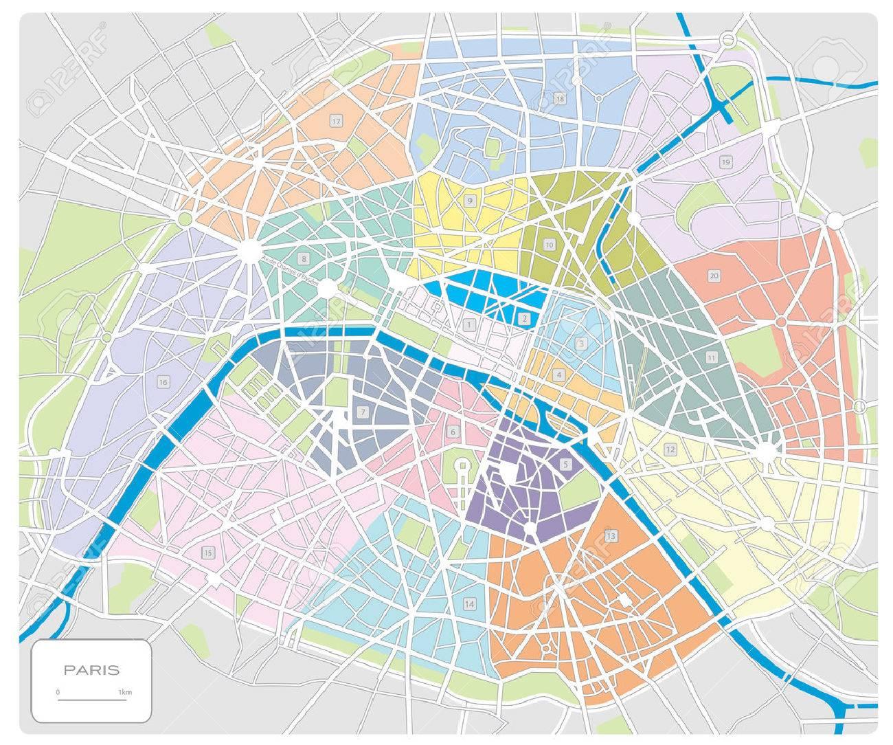 パリフランスの地図のイラスト素材ベクタ Image 4236686