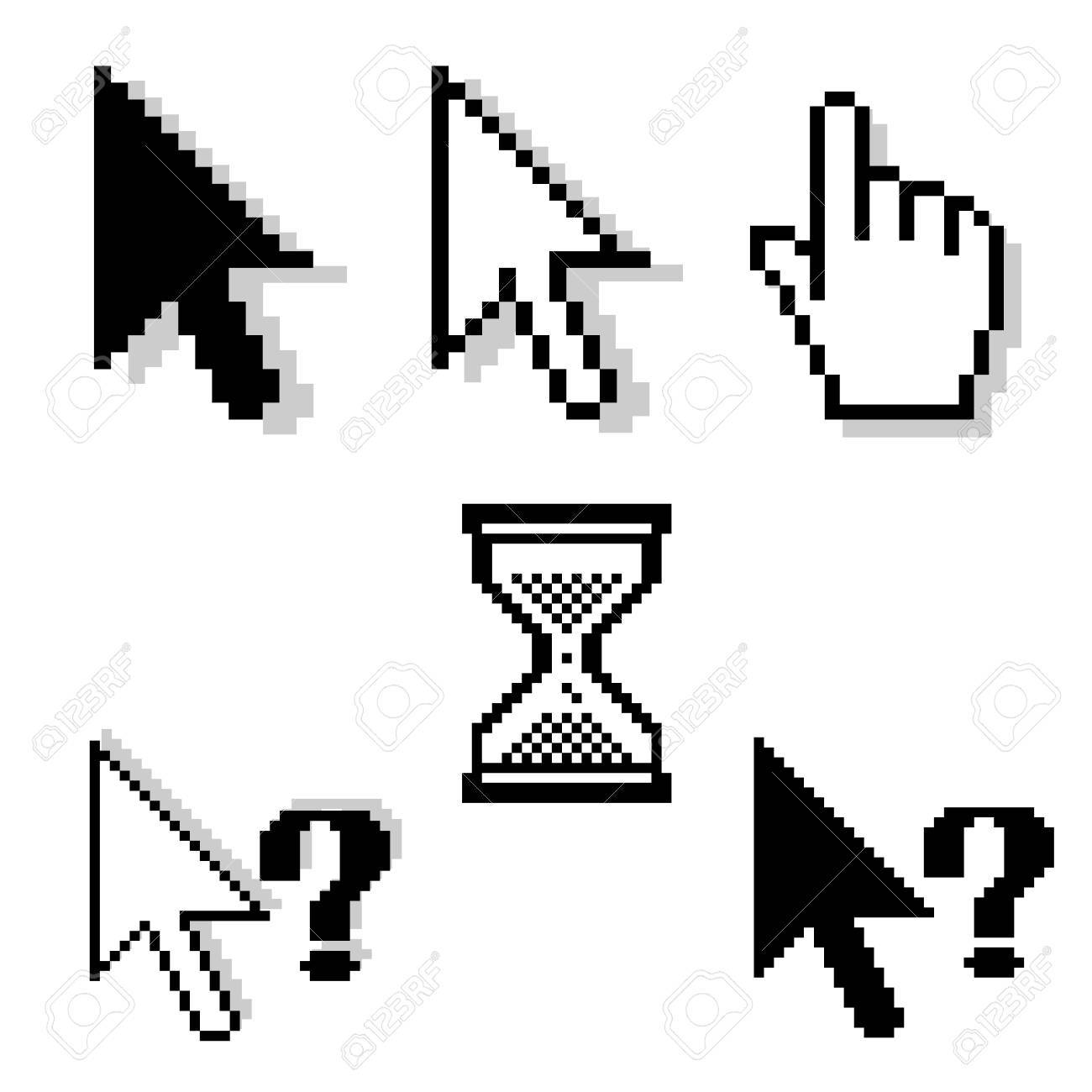 set of different pixel-cursors Stock Vector - 4463392
