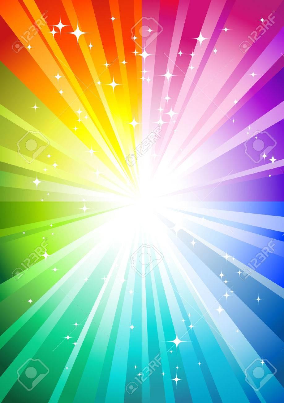 rainbow sunburst background with glittering stars - 4889390