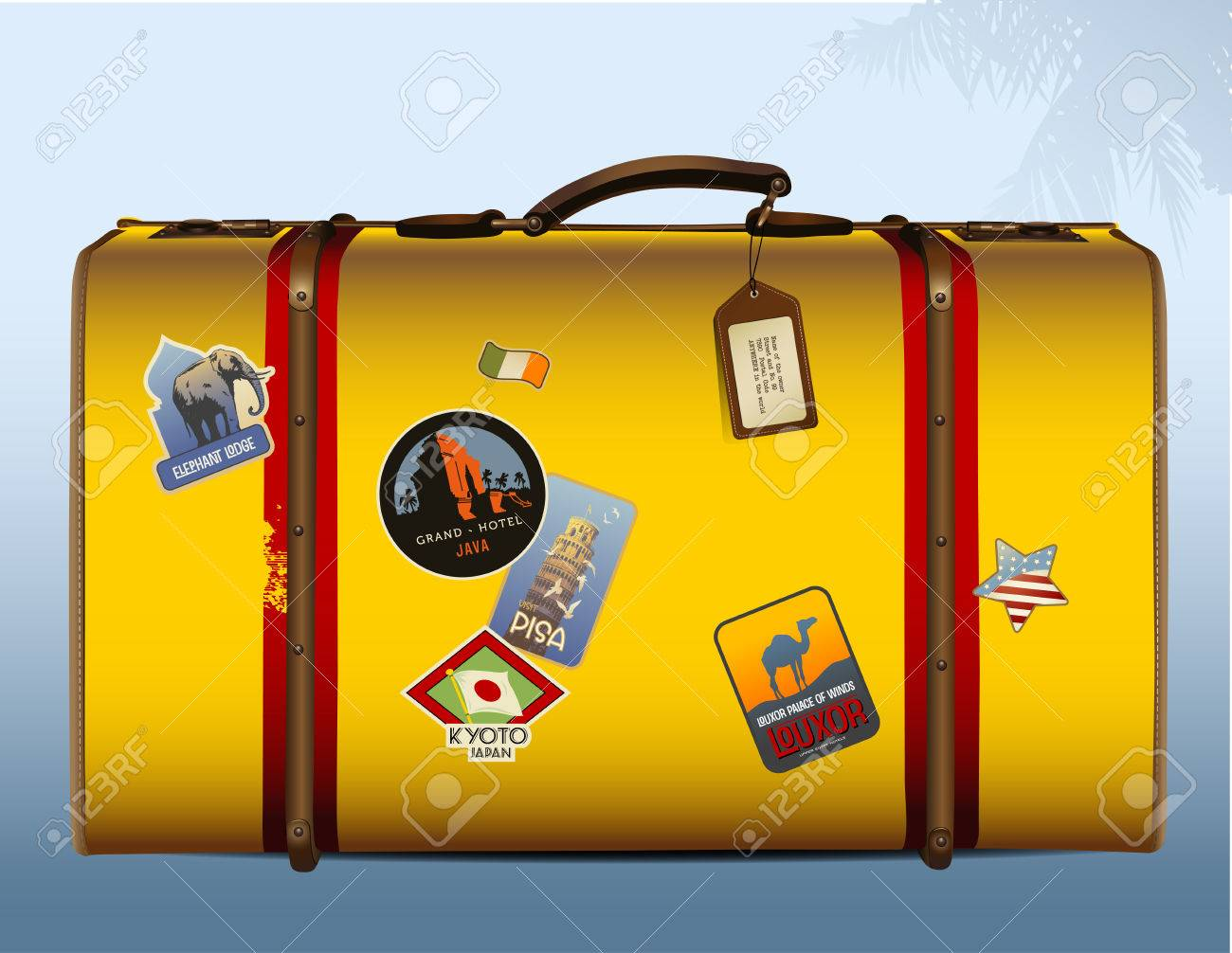 yellow suitcase with stickers Stock Vector - 4959862