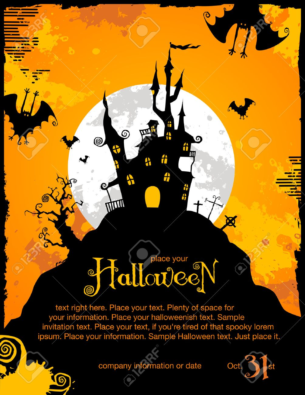 Halloween Invitation Or Background With Spooky Castle And Bats ...