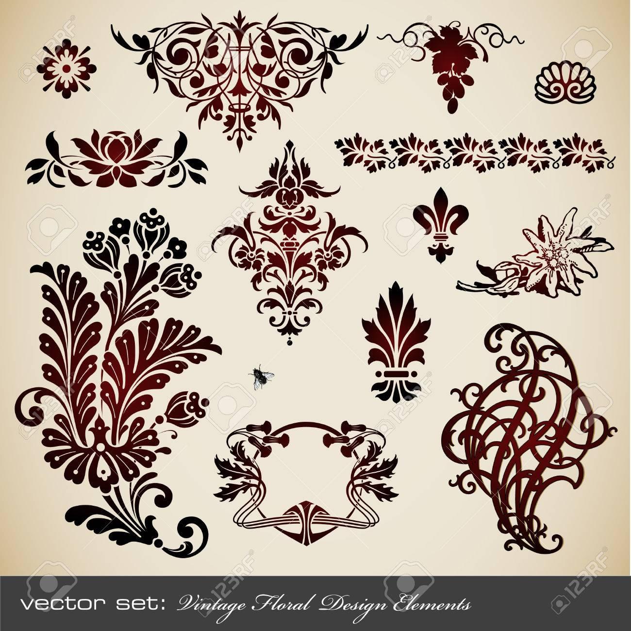 vector set: vintage floral design elements Stock Vector - 5924098