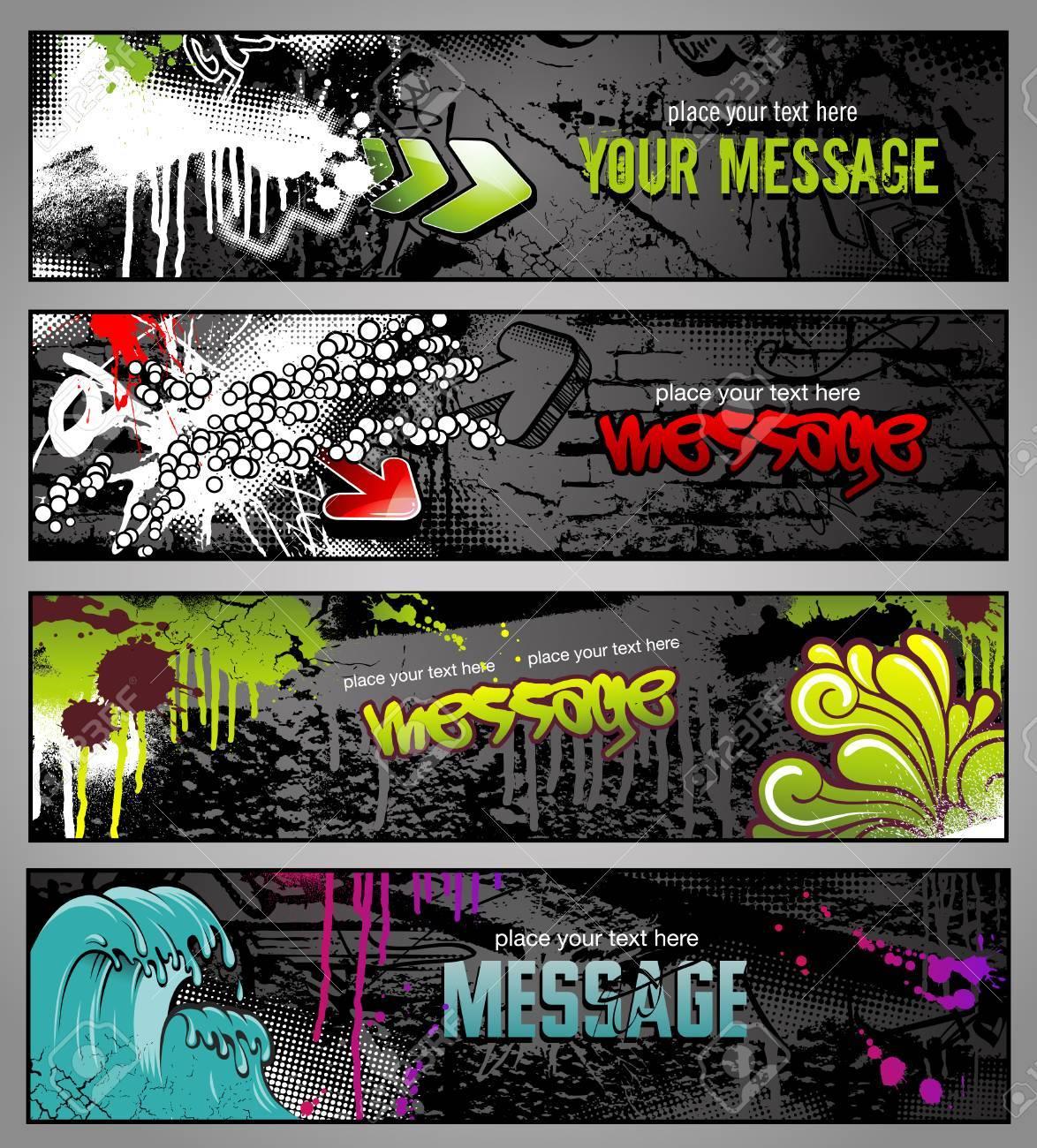 Your graffiti wall - Graffiti Wall Set Of Four Graffiti Style Grungy Urban Banners Illustration