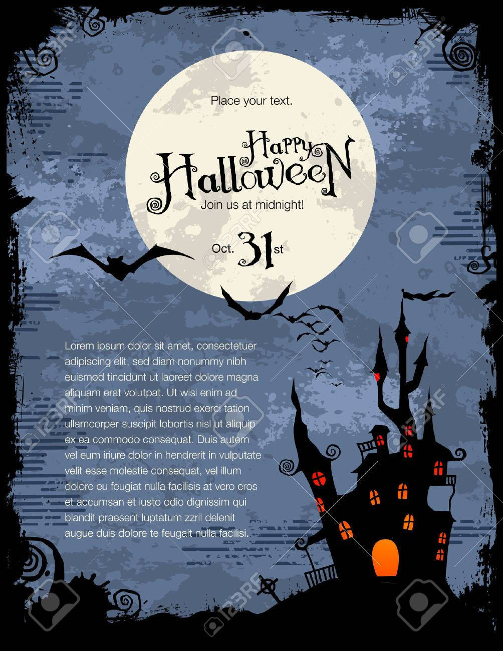 grungy Halloween background with haunted house, bats and full moon Stock Vector - 7983636