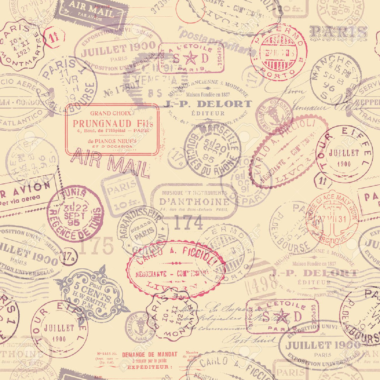 postage themed background with vintage stamps tiling royalty free