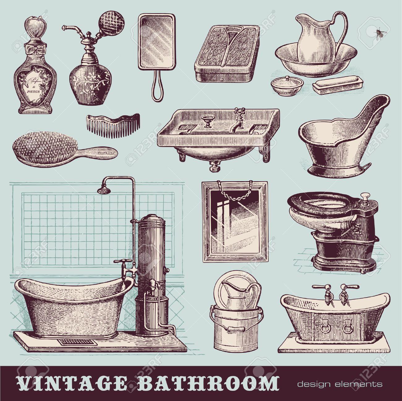 Vintage Badezimmer   Möbel Und Accessoires Standard Bild   27344725