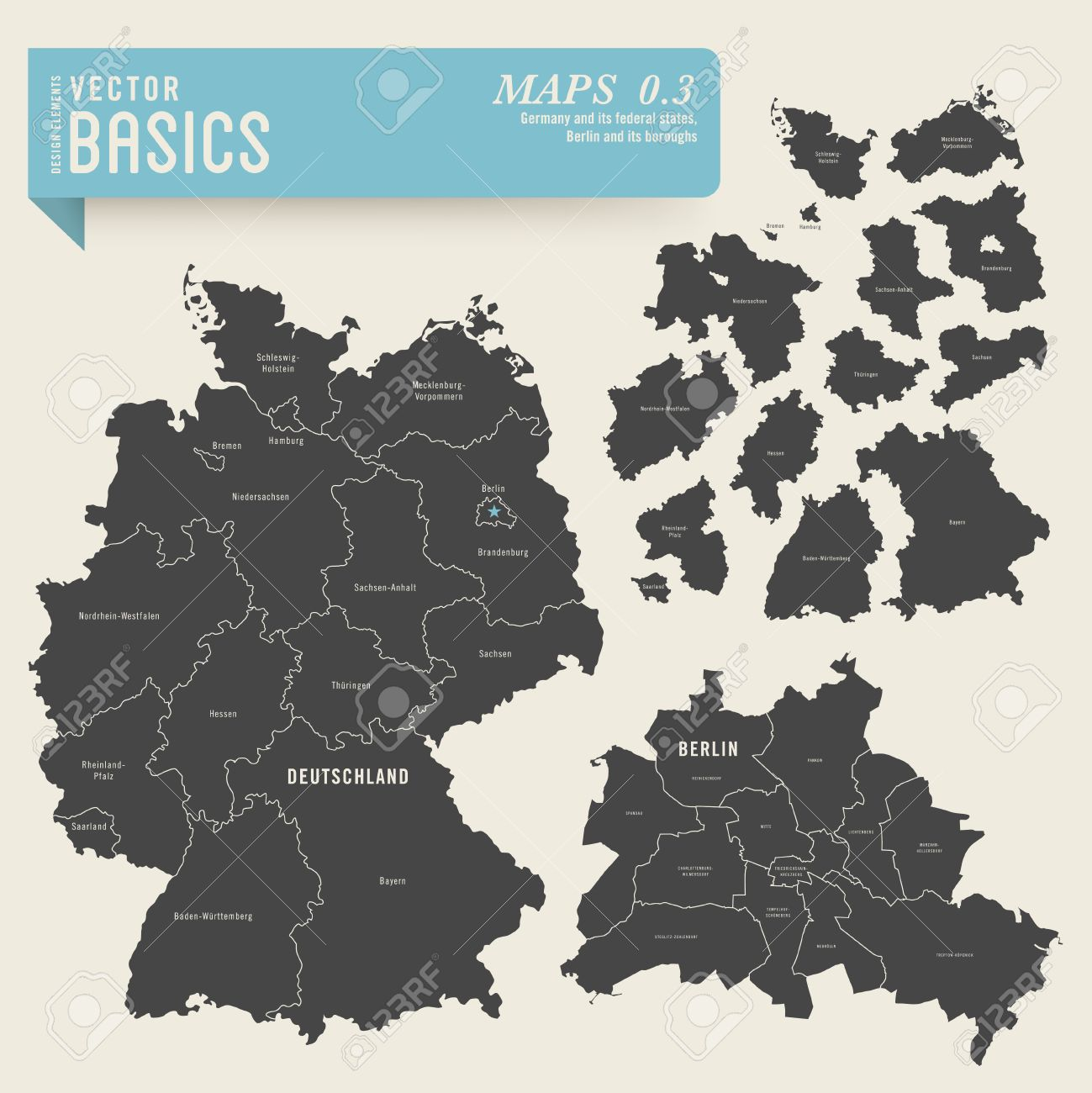 Maps Of Germany With Its Federal States And Berlin With Its - Germany map federal states