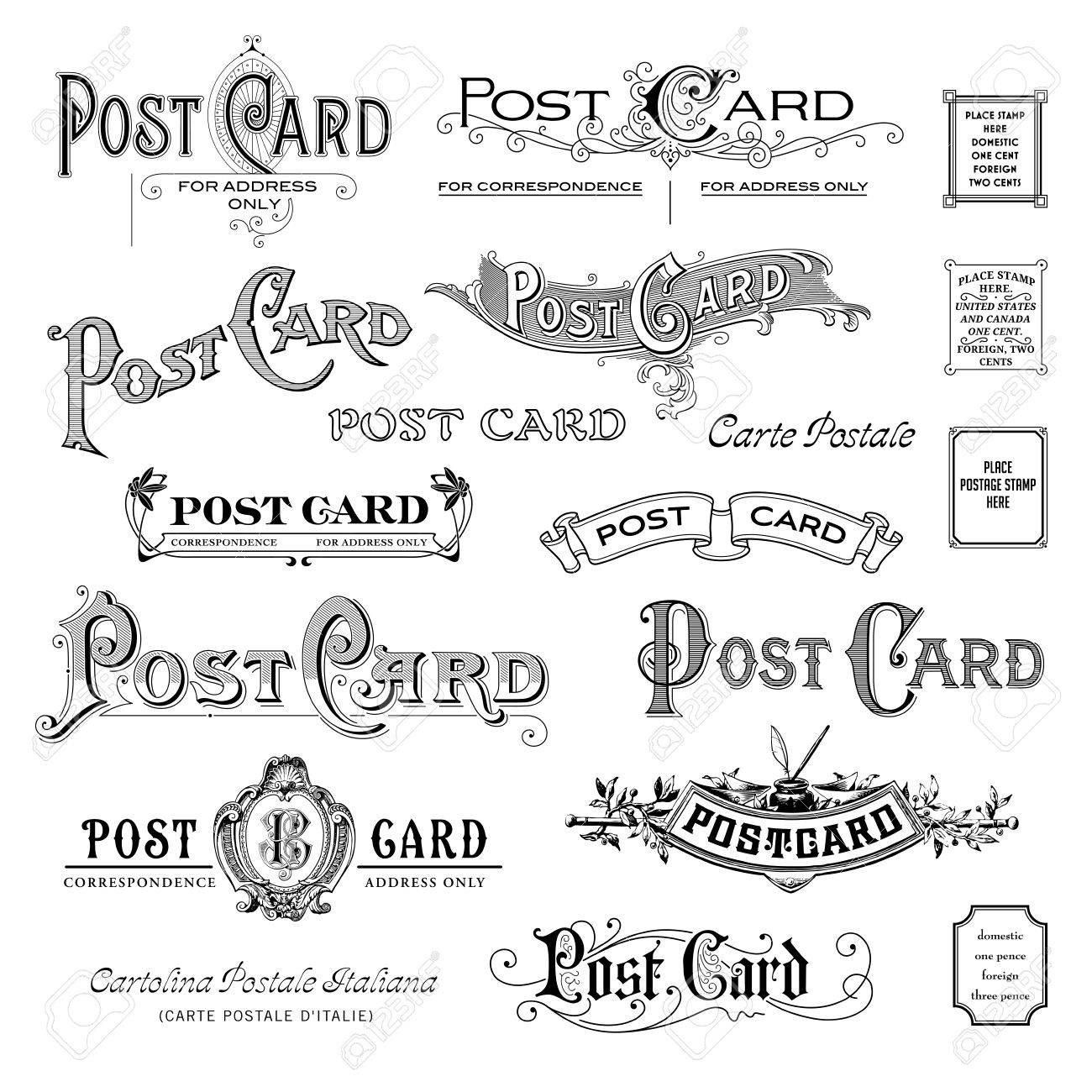 variety of vintage postcard headpieces - 39312396