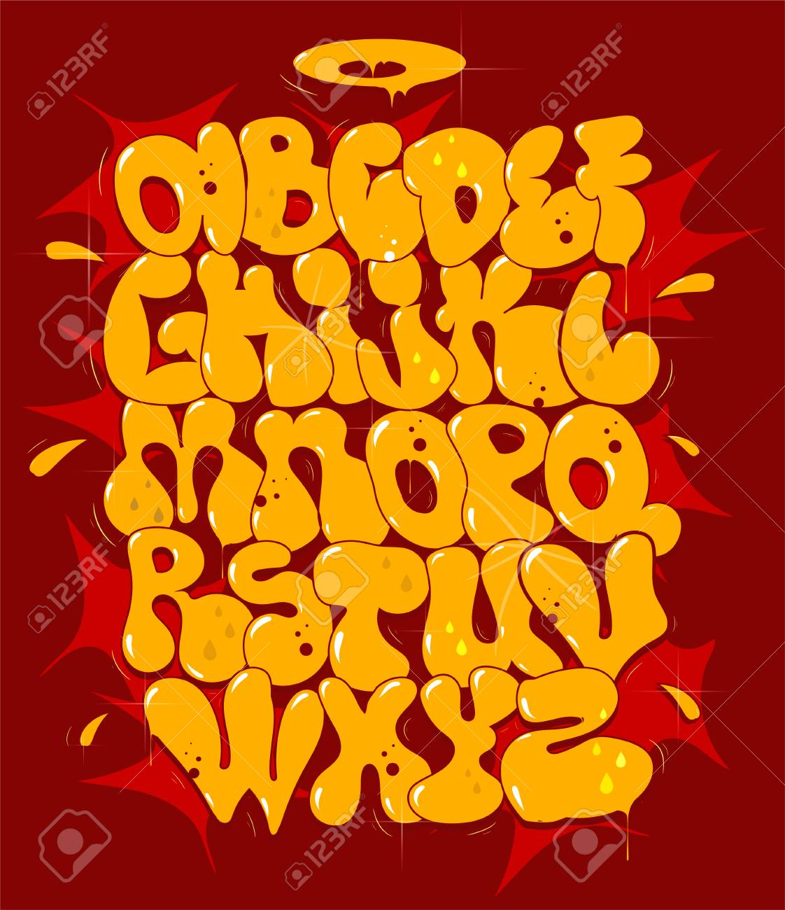 Vector Yellow Bubble Graffiti Font Vector