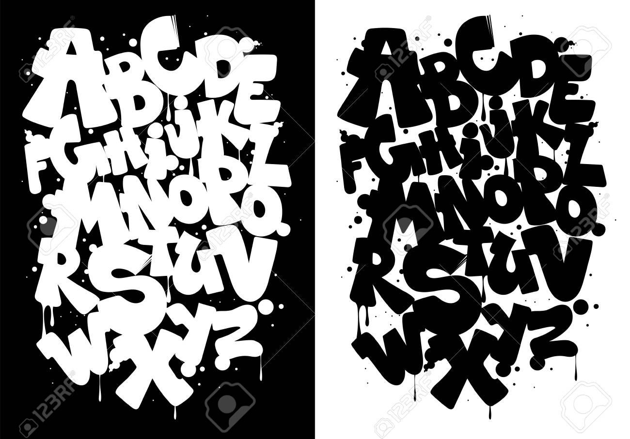 Black and white graffiti alphabet font vector
