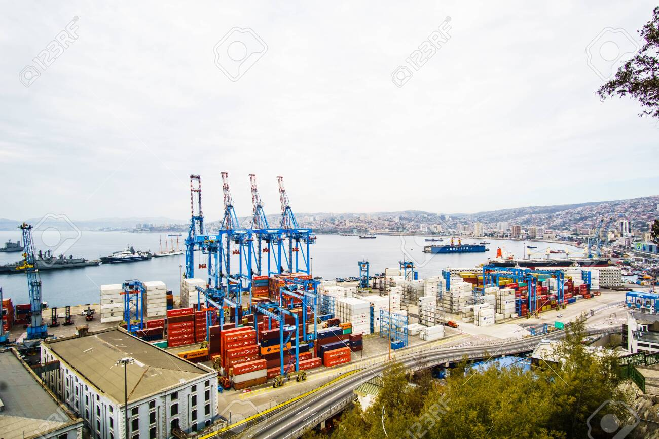 VALPARAISO, CHILE - April 15, 2017 - View on Cranes in a port of Valparaiso, Chile - 142308260